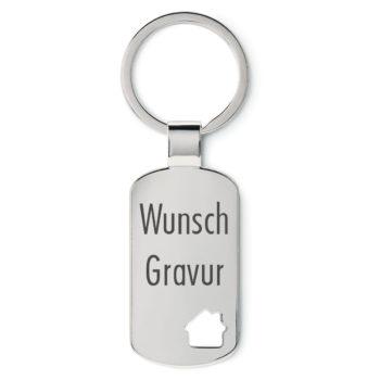 Schlüsselanhänger DogTag Haus mit Wunschgravur